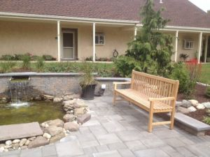 Teak Block Island Benches in Retirement Comm - Cust Photo Goldenteak