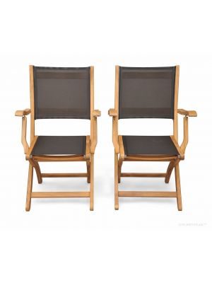 Teak  folding Providence Chair with Batyline Black