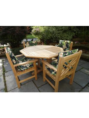 Teak Patio Set Octagon Table, Chippendale Chairs - Goldenteak Customer Photo