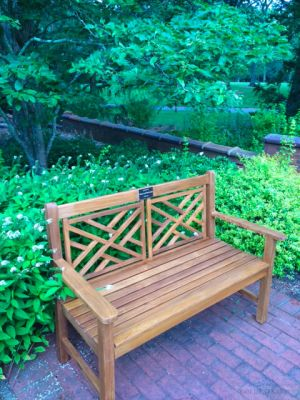 Teak Chippendale Bench at NY State Park - Goldenteak Customer Photo