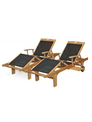 Teak Chaise Pool Lounge Sunlounger with Arms, Sling Black PAIR