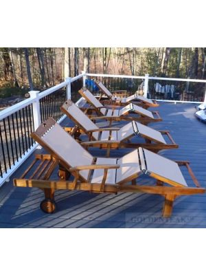 Teak and Sling Sun Lounger Customer Photo