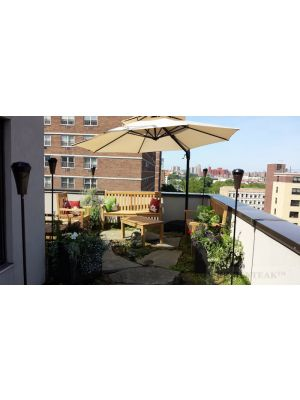 Teak Block Island Bench and Chair set with Coffee Table - rooftop- NYC- customer photo