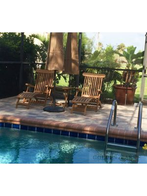 Teak Steamer Chairs with end table next to pool - customer photo