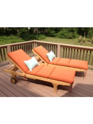 Teak Sunlounger pair with Tangerine Cushions - Customer Photo