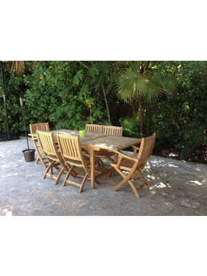 Teak Patio Dining Set Extension Table and Teak Folding Chairs - FL- Customer Photo