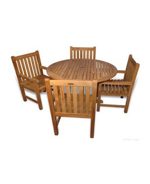 Teak Patio Dining Set Padua Table 48 in, 4 Block Island Dining Chairs