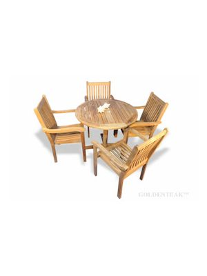 Teak Dining Set for 4, Round Table and 4 stacking chairs