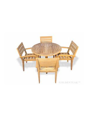 Teak Dining Set Round Table and 4 Stacking chairs