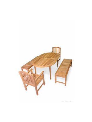 Teak Patio Picnic Set - Bristol Oval