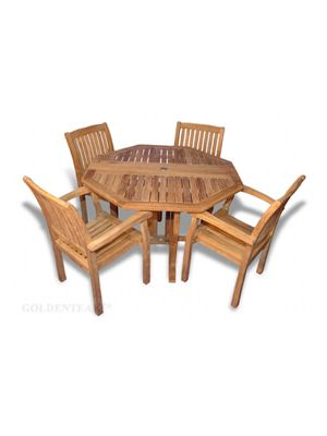 Teak Patio Set, Octagon Folding Table and 4 Millbrook Dining Chairs