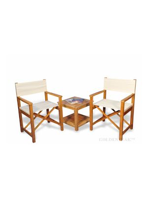 Teak Directors Chair Conversation Set, 2 Directors Chairs and 1  end table