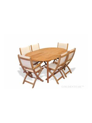 Teak Dining Set Oval Table 6 Cream Sling Folding chairs