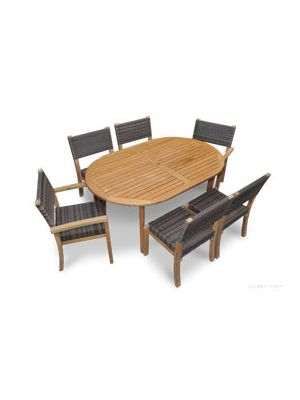 Teak Westport Dining Set for 6, Teak & Wicker Stacking Chairs and Teak Oval Table