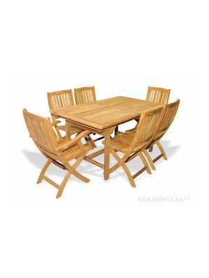 Teak Dining Set Rect Table 2 Providence Chairs w arms 4 without