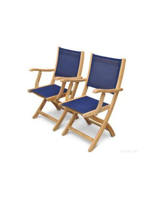 Teak Folding  Providence Chair with Sling Batyline Navy Fabric