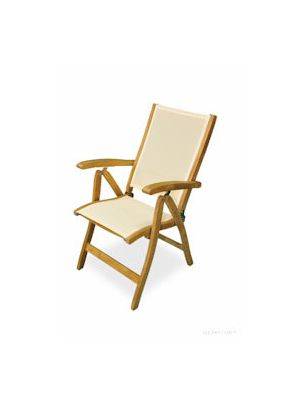 Teak Recliner chair with Batyline fabric Cream