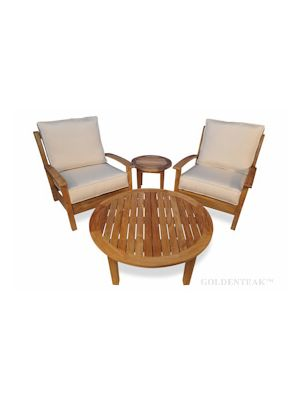 Teak Deep Seating Round Coffee Table set