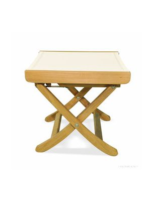 Teak footstool with cream color Batyline fabric