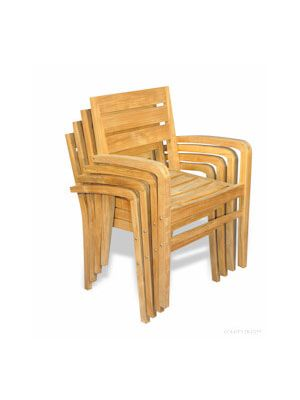 Set of 4 Teak Ventura Stacking Chairs