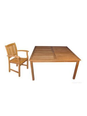 Teak Patio Dining Set for 8, 60in Sq. Table | Premium Teak