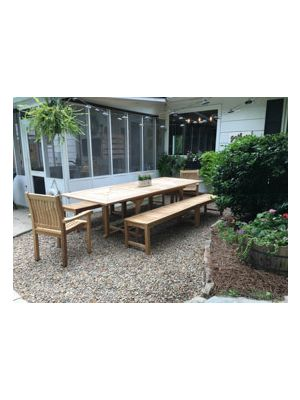 Teak Nantucket Set with Benches and Stacking Chairs - Customer Photo