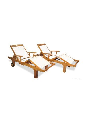Teak Chaise Lounge Sunlounger PAIR  with arm, White Sling Fabric