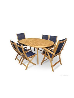 ... Teak Patio Dining Set For 6 Navy Sling With Reclining And Folding Chairs