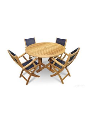 Teak Patio Set - Round Table 4 Teak and Navy Mesh Folding Chairs