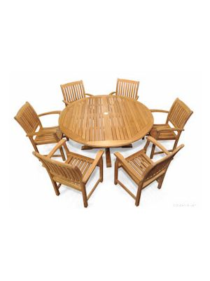 Teak Patio Dining Set Round Table 6 Millbrook Chairs