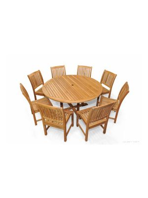 Teak Dining Set for 8 - 60in Round Table 8 Chairs | Premium Teak