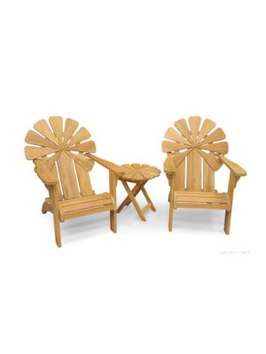 Petals Adirondack Chair Pair with End Table - Premium Teak