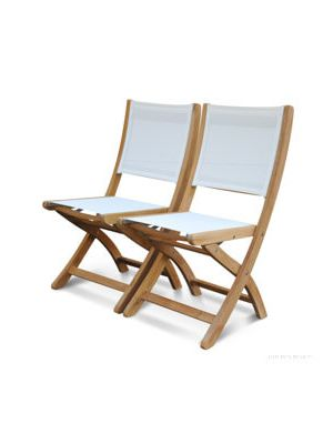Teak Folding Side Chair with White Sling Fabric - Providence Collection