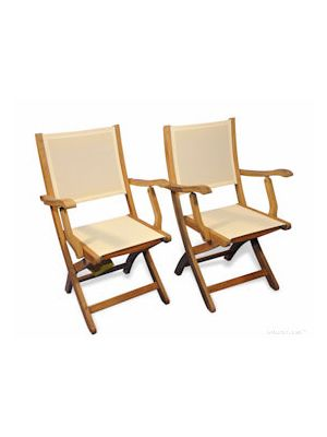 Teak Folding  Providence Chair with Cream Batyline Sling Fabric