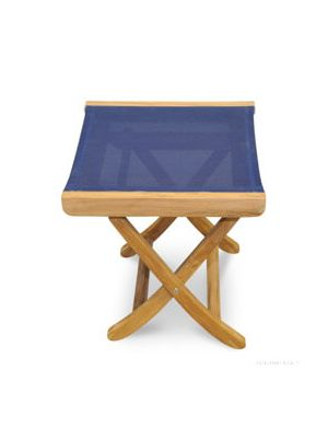 Teak footstool side table with Navy Batyline fabric