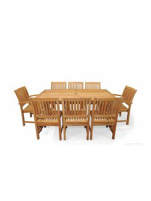 Teak Patio Dining Set for 8 Rectangular Table 8 Millbrook Chairs | Premium Teak