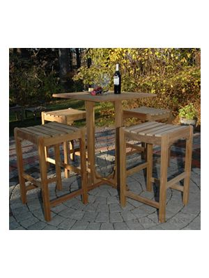 Teak Square Bar Table 4 Bar Stools Set