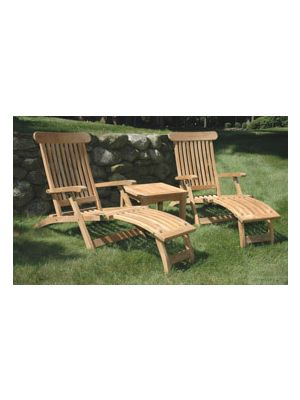 Teak Steamer Chaise Lounge Pair Set