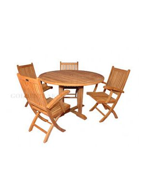 Teak Outdoor Dining Set for 4  Padua 48in Round Table & 4 Rockport Folding Chairs w Arms