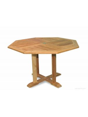 Teak Octagon Dining Table, Dia 51 inch, 48 inch between flats