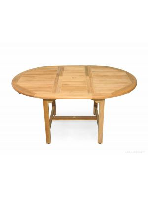 Teak Dining Table Round Extension 48 inch, 16 inch Leaf