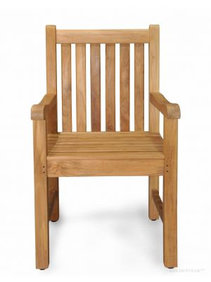Solid Teak Block Island Dining Chair with arms