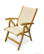 Teak Recliner chair with Batyline fabric Cream