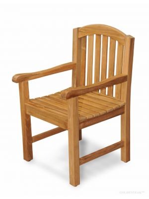Aquinah Teak Curved Top Dining Chair with Arms