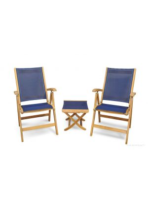Teak Recliner Navy Pair with Navy Footstool End Table
