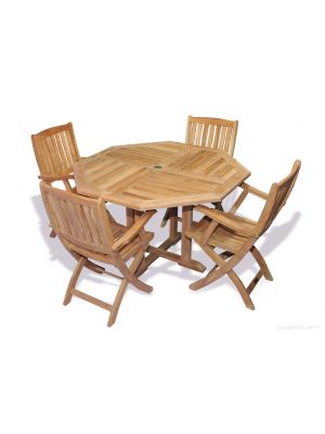 Teak Outdoor Dining set, Octagon table and 4 folding chairs