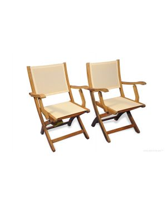 Teak Folding  Providence Chair with Cream Batyline Sling Fabric PAIR