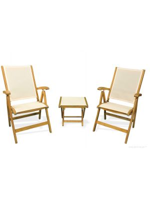 Teak Recliner Cream Pair with Cream Footstool End Table