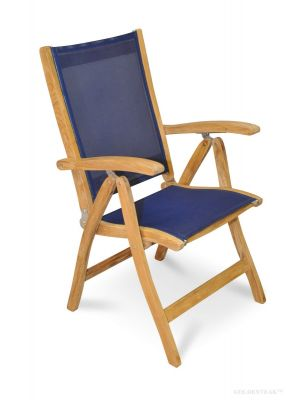 Teak Recliner chair with Batyline fabric NAVY