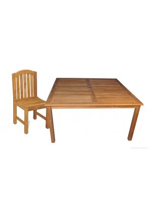 Teak Outdoor Dining Set for 8, 60 in Sq Table and 4 Aquinah Side Chairs
